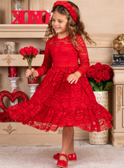 Girls Heart Lace Ruffled Dress with Sash