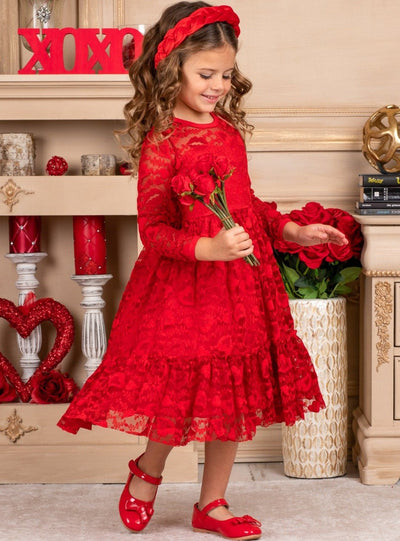 Girls Heart Lace Ruffled Dress with Sash 2T-12Y Heart red
