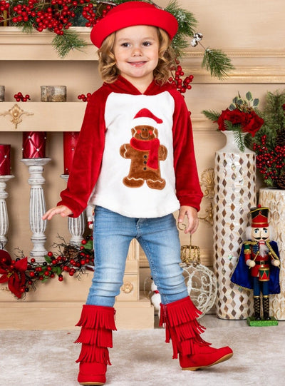 Girls Winter and Christmas Themed Gingerbread Fleece Plush Applique Hoodie