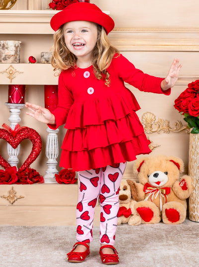 Girls Tiered Ruffled Button Tunic and Hearts Leggings Set - Girls Fall Casual Set