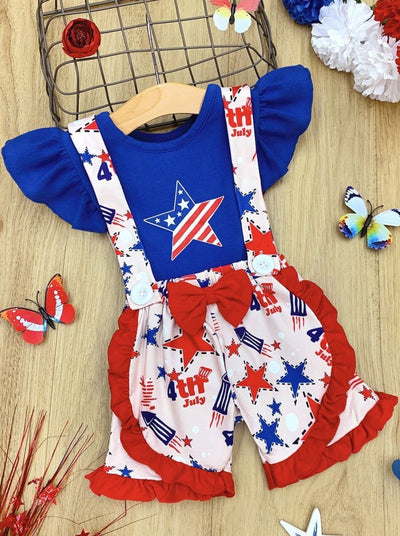 Girls Patriotic Ruffled Star Top and Bow Suspender Shorts Set