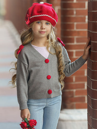 Girls grey with red Shoulder Bow Pom Pom Buttoned Cardigan Sweater