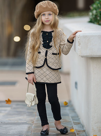 Girls Preppy Pleated Print Ruffled Buttoned Jacket with Faux Pockets & Matching Skirted Leggings Set