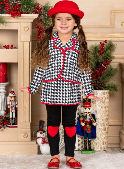 Girls Black & White Plaid Blazer with Red Heart Patches & Matching Skirted Leggings Set
