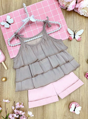 Girls Tiered Crop Top and Cuffed Shorts Set 2t-10Y grey