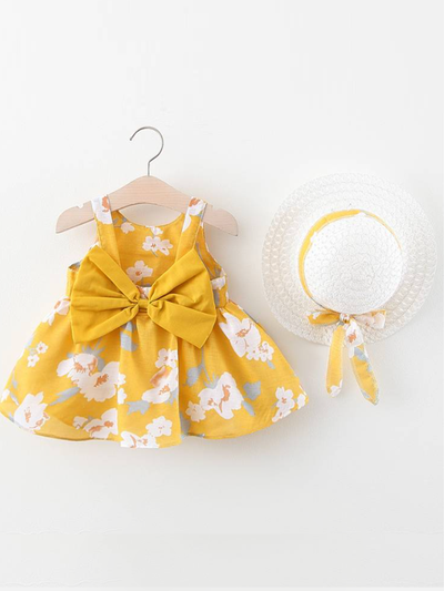 Baby Spring Flower Dress with Matching Hat yellow