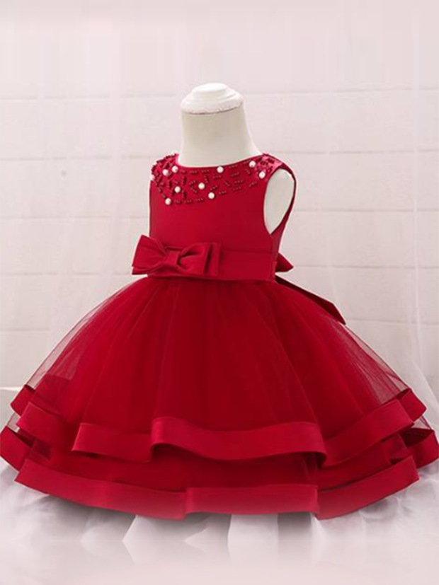 Baby dress features beautiful beads on the bodice, voile with satin hem-red