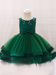 Baby dress features beautiful beads on the bodice, voile with satin hem-green