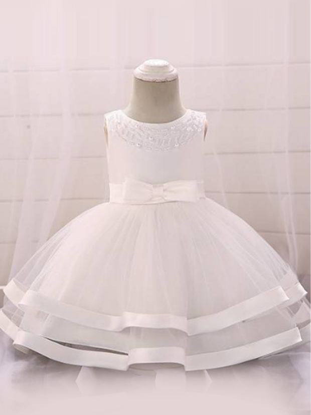 Baby dress features beautiful beads on the bodice, voile with satin hem-white