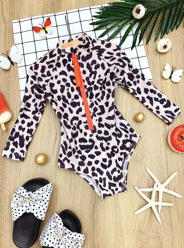 Girls Never Change Your Spots Rash Guard One Piece Swimsuit