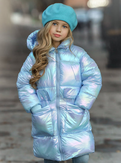 Girls Metallic Puffer Coat 18M-7Y Aqua