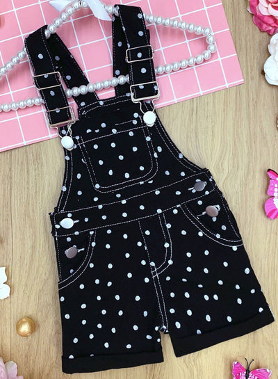 Girls Polka Dot Cuffed Overall