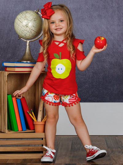 Girls Cold Shoulder Apple Print Top & Apple Print Pom Pom Shorts Set