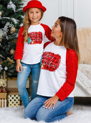 "Mommy and Me Plaid ""Merry Christmas"" Lace Top"