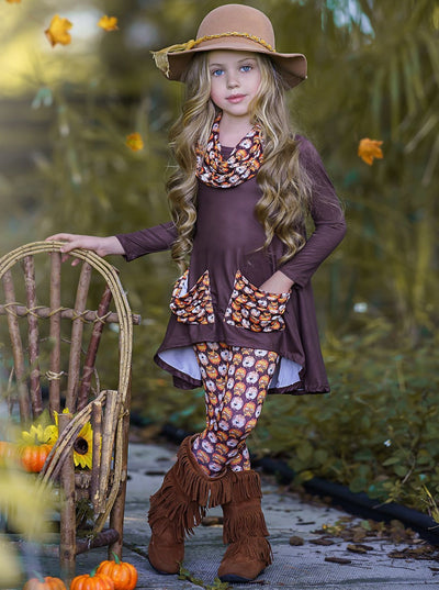 Girls Hi-lo Long Sleeve Tunic with Slouchy Pockets & Matching Leggings & Scarf Set