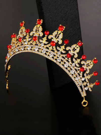 Girls Gold Fancy Red Rhinestone Crown