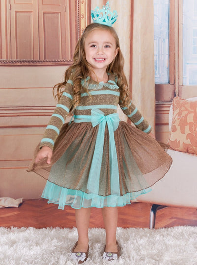 Girls Mint & Gold Striped Long Sleeve Tutu Dress