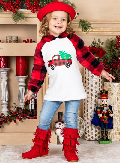 girls Plush Fleece Raglan Holiday Hoodie