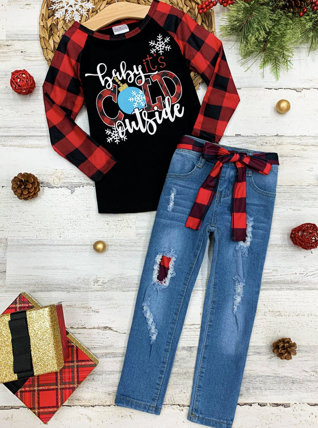 "Girls ""Baby It's Cold Outside"" Raglan Top and Patched Jeans with Belt Set"