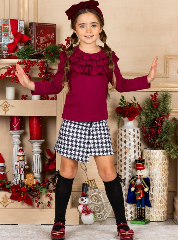 Girls Ruffled Neckline red - burgundy Top and black-white Buttoned Skirt Set