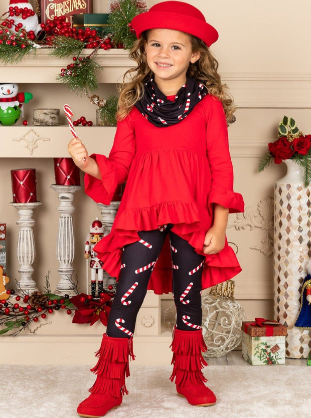 Girls Hi-Lo Ruffled Tunic with Matching Candy Cane Print Leggings and Scarf