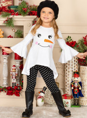 Girls Hi-Lo Bell Sleeve Holiday Applique Tunic & Printed Leggings Set