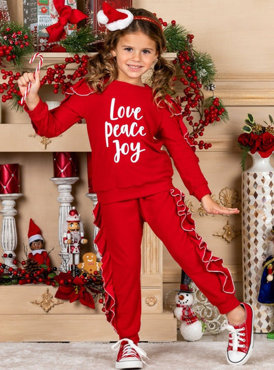 "Girls ""Love Peace Joy"" with Ruffles Jogger 2T-12Y Set"