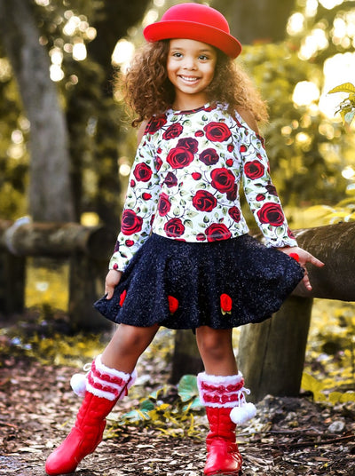 Girls Rose Garden Top and Skirt Set