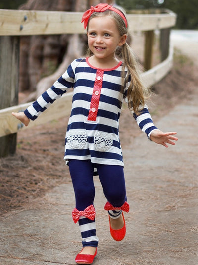 Girls Navy & Red Placket Tunic with Contrast Cuff Leggings Set
