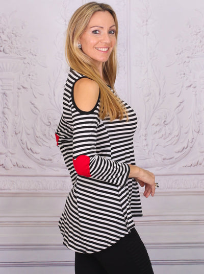 Mommy & Me Black & Red Matching Cold Shoulder Striped Hi-Lo Elbow Patch Heart Applique Tunic