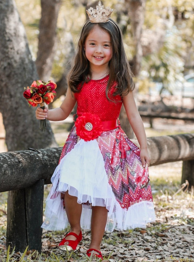Girls Red & Floral Overlay Ruffled Skirt with Flower Belt