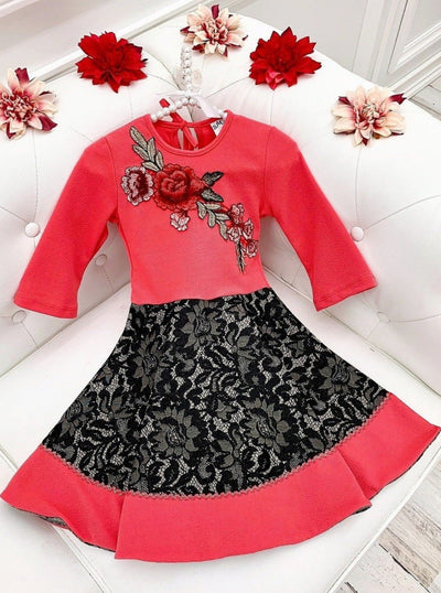 Girls Circular Lace Skirt 3/4 Sleeve Dress with Flower Applique