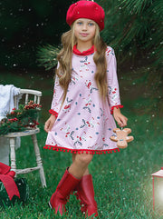 Girls Christmas Themed Long Sleeve Turtle Neck A-Line Sweater Dress with Pom Pom Trim