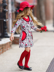 Girls Printed Long Sleeve Crochet Trim Pocket Dress