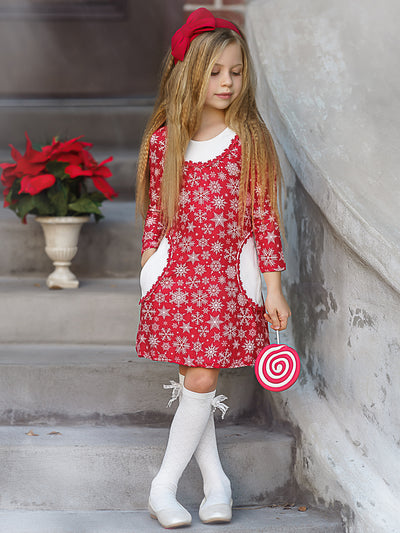 Girls Red Snowflake Print Long Sleeve Crochet Trim Pocket Dress