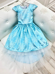 Girls Snowflake Princess Elsa Inspired Cap Sleeve Hi-Lo  Holiday Dress
