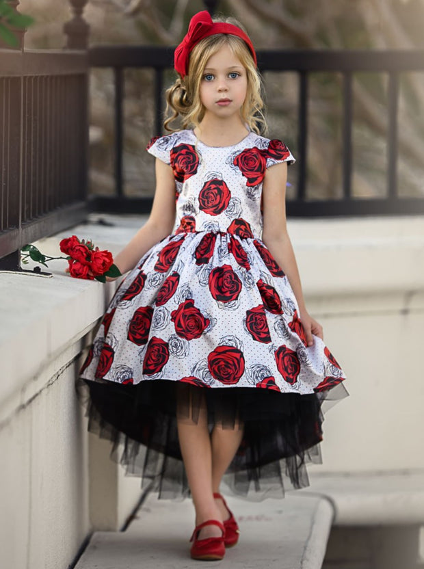 Girls Printed Cap Sleeve Hi-Lo Tulle Holiday Dress - White / 2T/3T - Girls Fall Dressy Dress