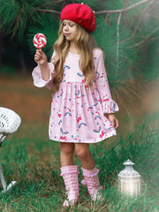 Girls Rudolph A-Line Flared Long Sleeve Holiday Dress
