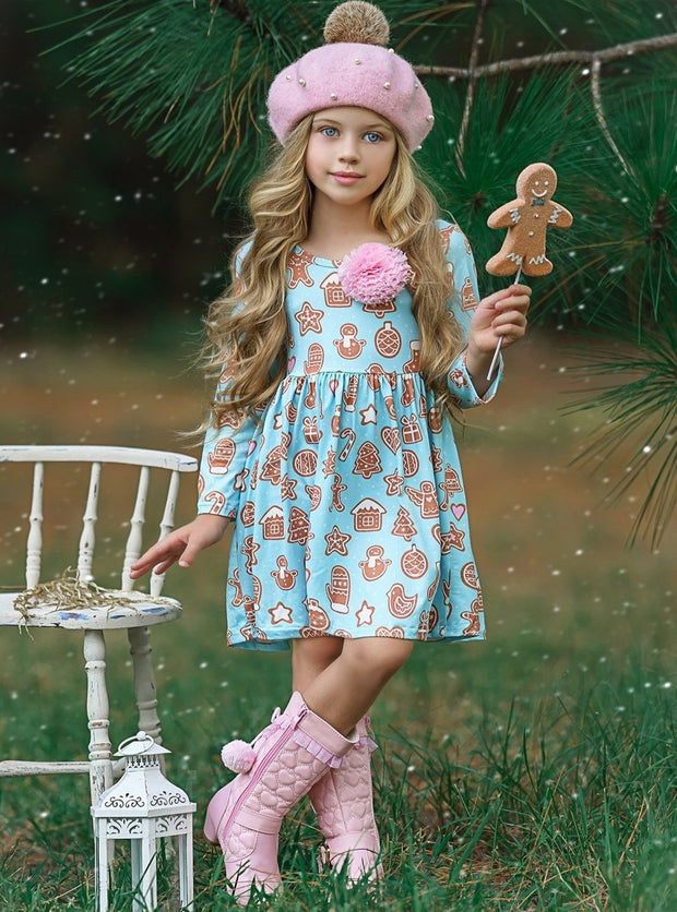 Girls Gingerbread A-Line Long Sleeve Holiday Dress