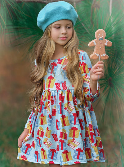 Girls Gift A-Line Long Sleeve Holiday Dress