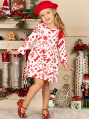 Girls Candy Cane A-Line Long Sleeve Holiday Dress