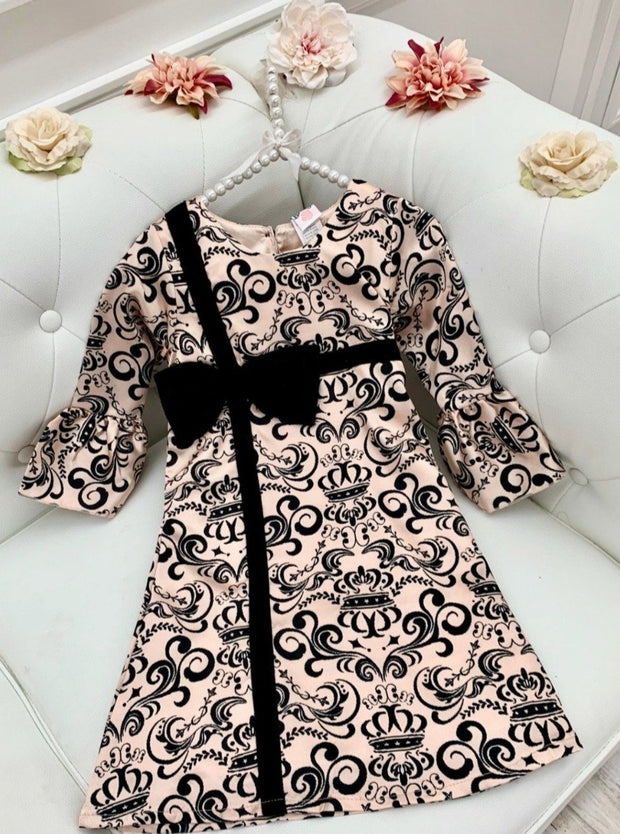 Girls Bell Sleeve Cross Over Bow Present Dress