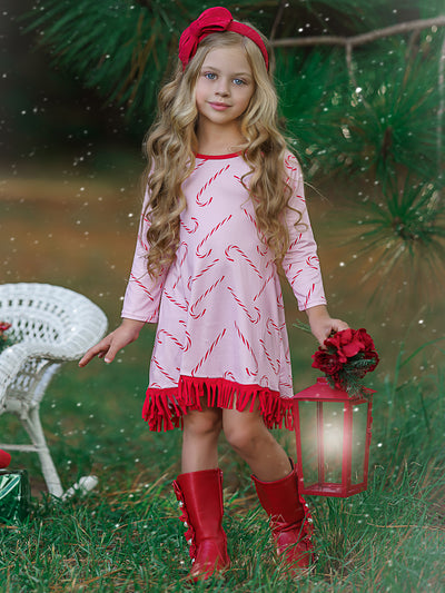 Girls Candy Cane Long Sleeve Fringe Hem Dress