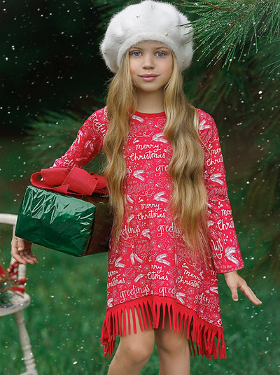 "Girls ""Merry Christmas"" Long Sleeve Fringe Hem Dress"