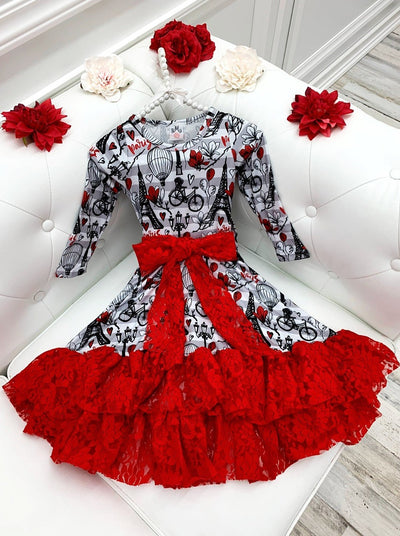 Girls Striped Paris Print Long Sleeve Lace Ruffled Hem and Sash Twirl Dress
