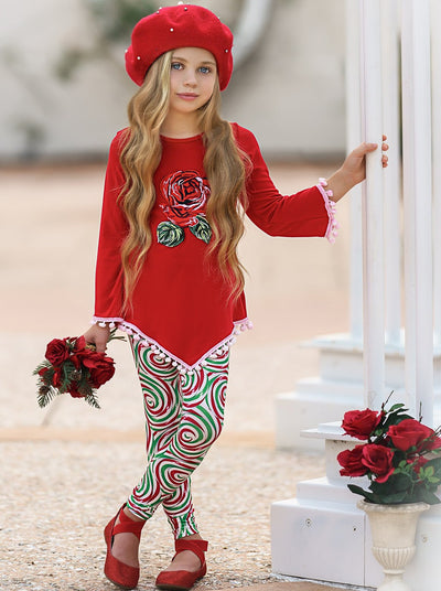 Girls Asymmetric Long Sleeve Ombre Pom Pom Tunic & Leggings Set