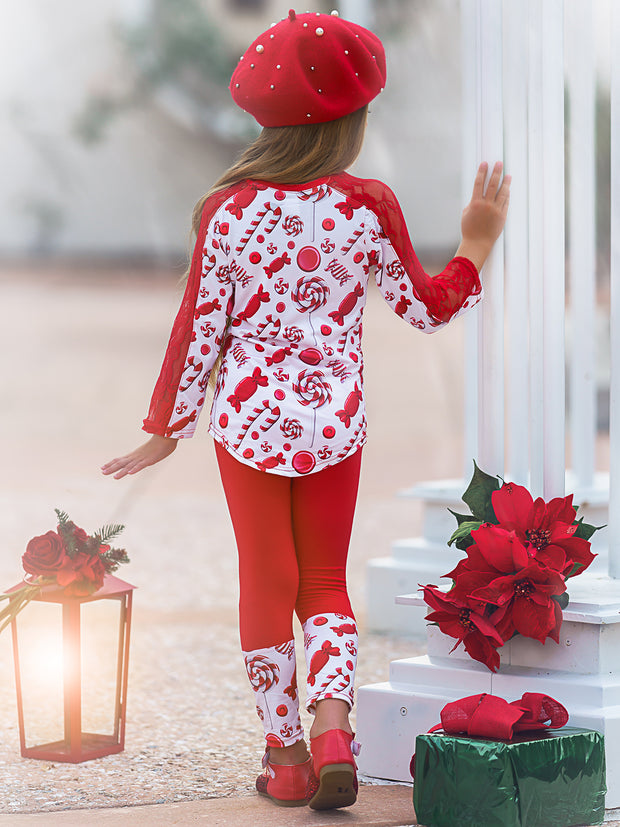 Girls Lace Contrast Long Sleeve Tunic & Matching Cuffed Leggings Set