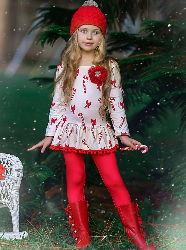 Girls Printed Long Sleeve Ruffled Pom Pom Hem Tunic & Red Leggings Set