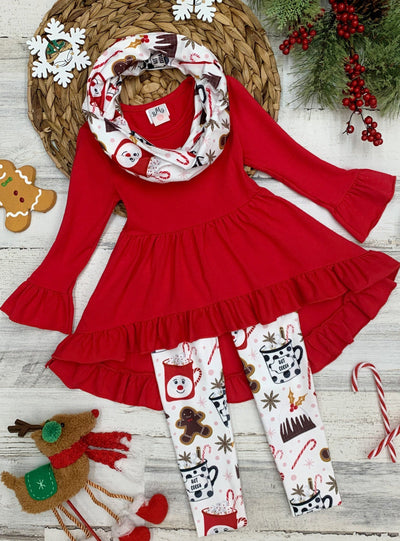 Girls Hi-lo Ruffled Flared Long Sleeve Tunic Printed Leggings & Scarf Set - Girls Christmas Set