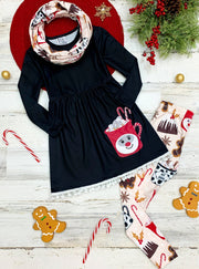 Girls Long Sleeve A-Line Tunic Printed Leggings & Scarf Set - Black - Girls Christmas Set